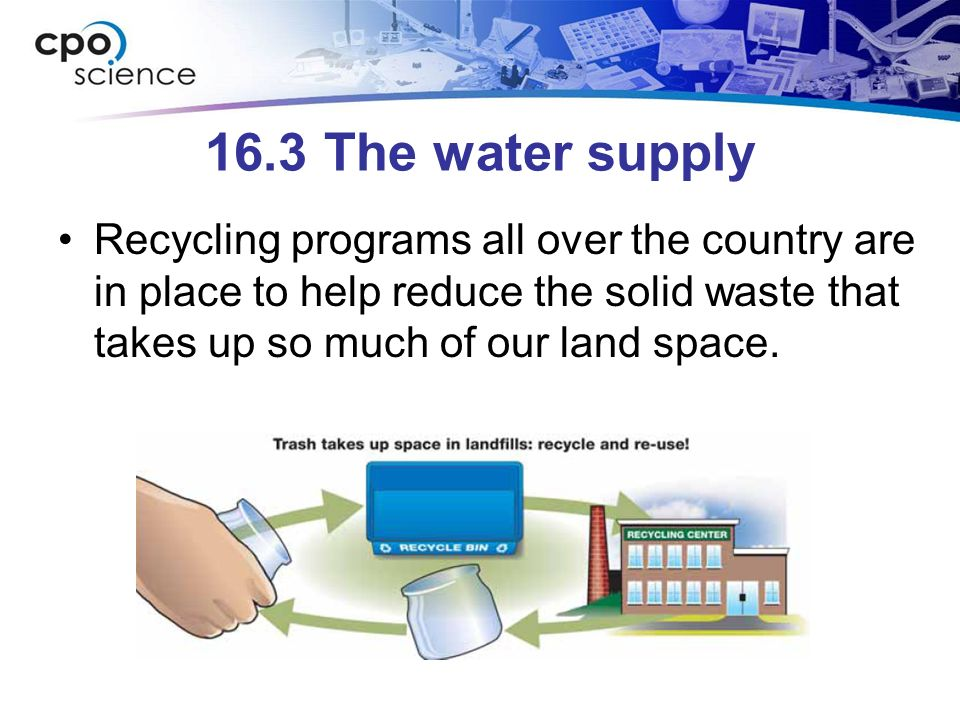 16.3 The water supply Recycling programs all over the country are in place to help reduce the solid waste that takes up so much of our land space.