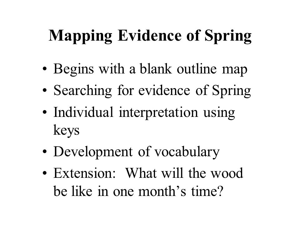 Mapping Evidence of Spring