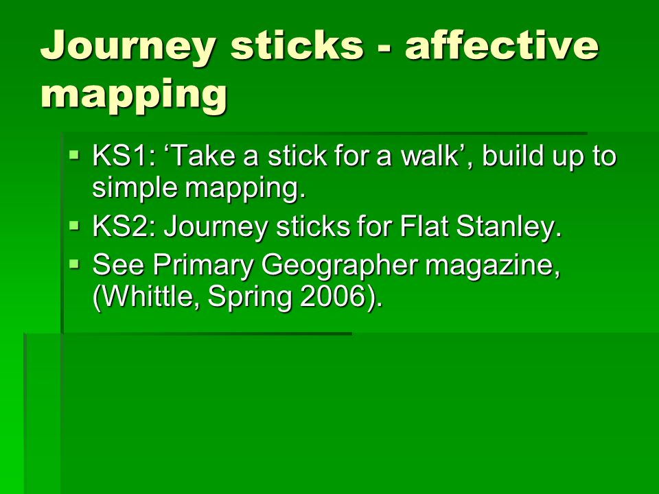Journey sticks - affective mapping