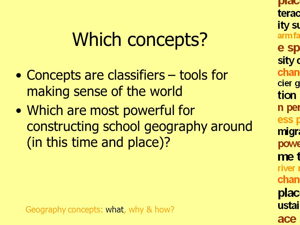 Which concepts Concepts are classifiers – tools for making sense of the world.