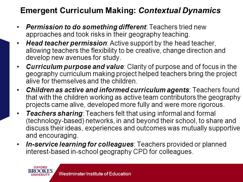 Emergent Curriculum Making: Contextual Dynamics