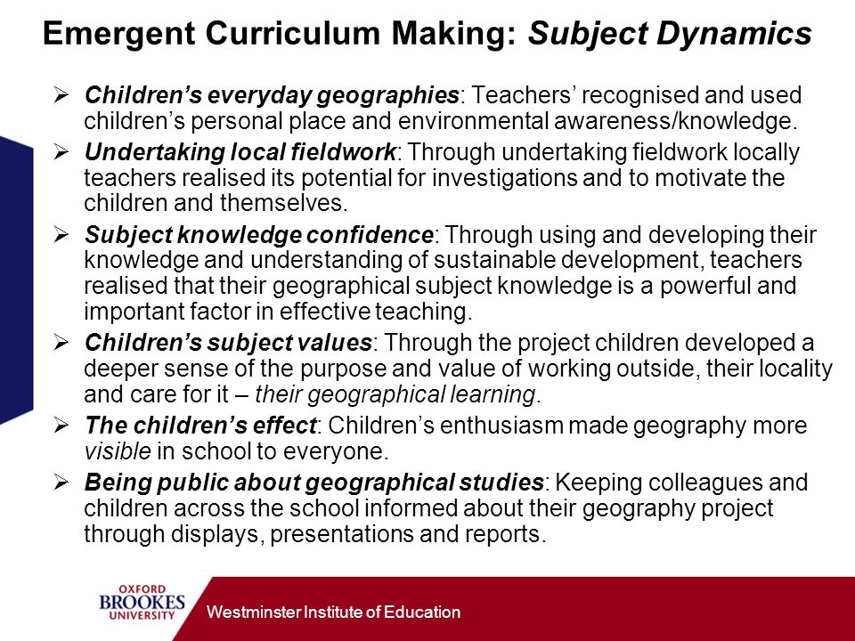 Emergent Curriculum Making: Subject Dynamics