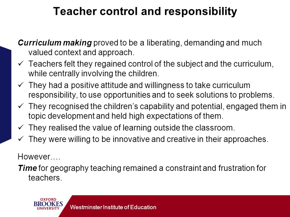 Teacher control and responsibility
