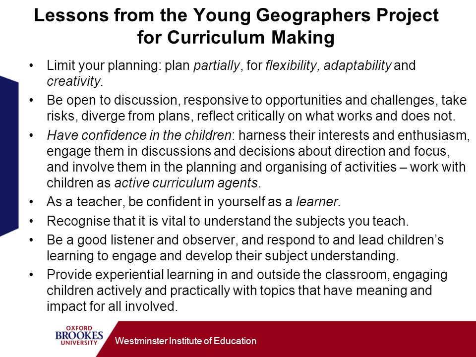 Lessons from the Young Geographers Project for Curriculum Making