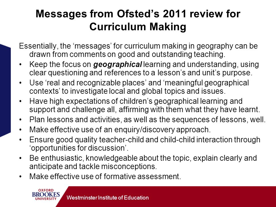 Messages from Ofsted's 2011 review for Curriculum Making