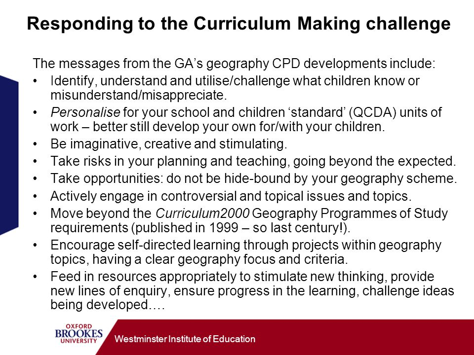 Responding to the Curriculum Making challenge