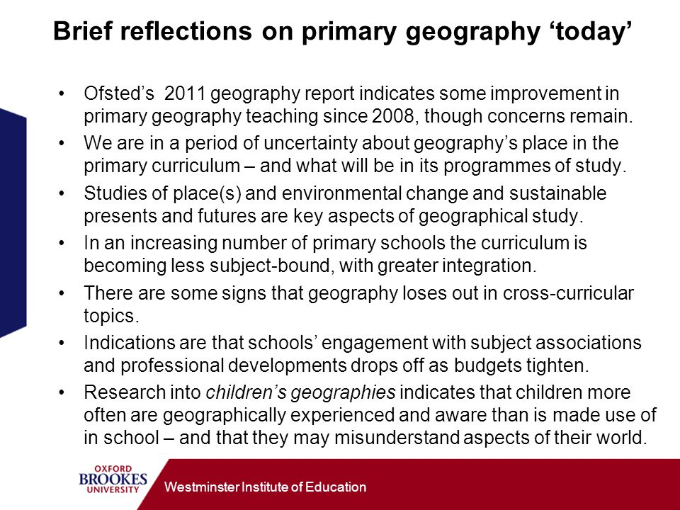 Brief reflections on primary geography 'today'