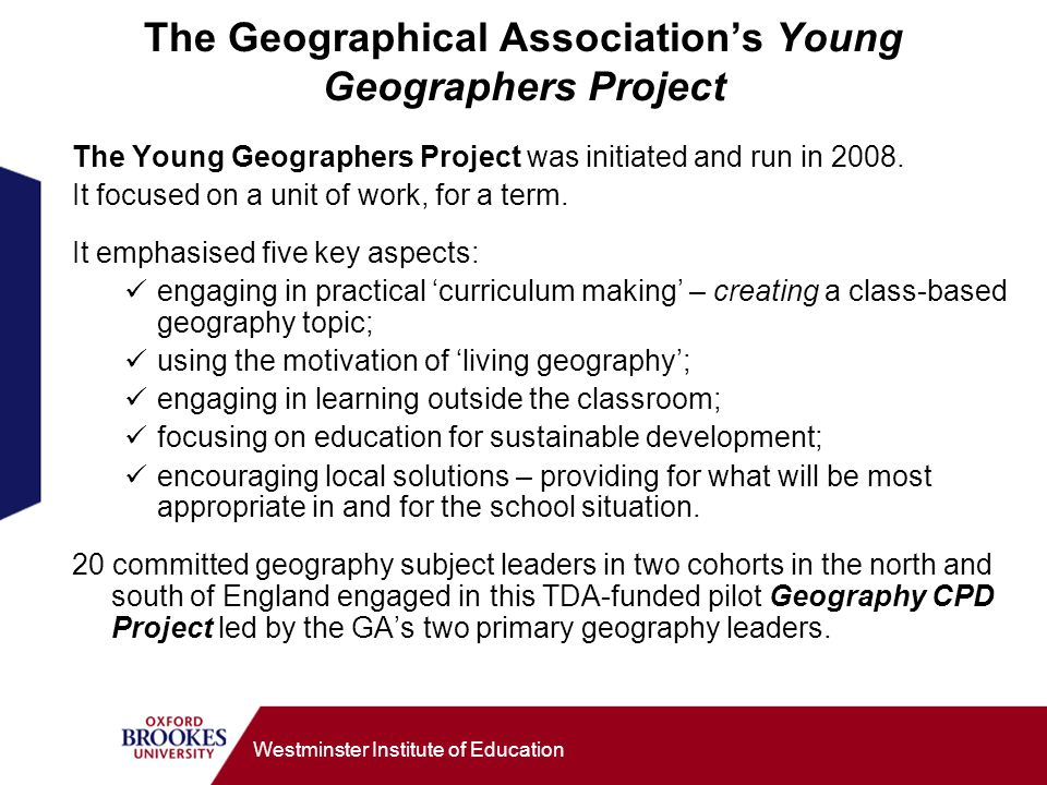 The Geographical Association's Young Geographers Project