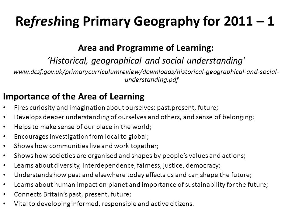 Refreshing Primary Geography for 2011 – 1