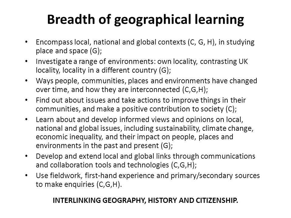 Breadth of geographical learning