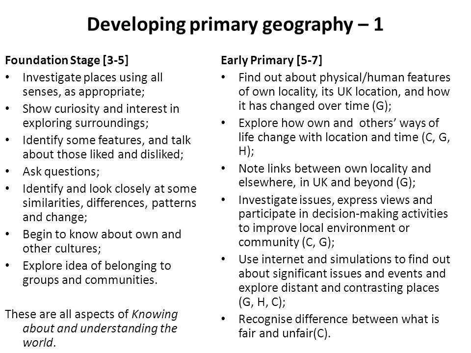 Developing primary geography – 1