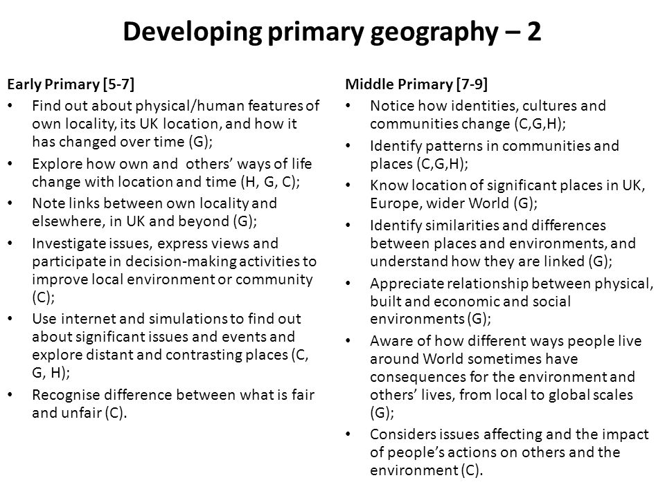 Developing primary geography – 2
