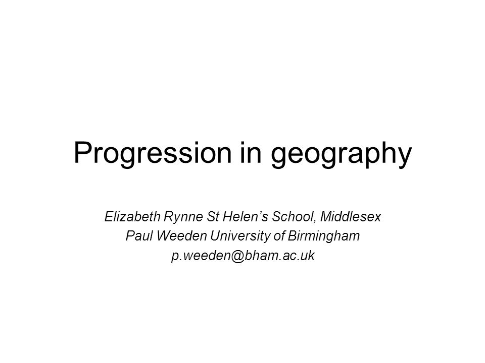 Progression in geography