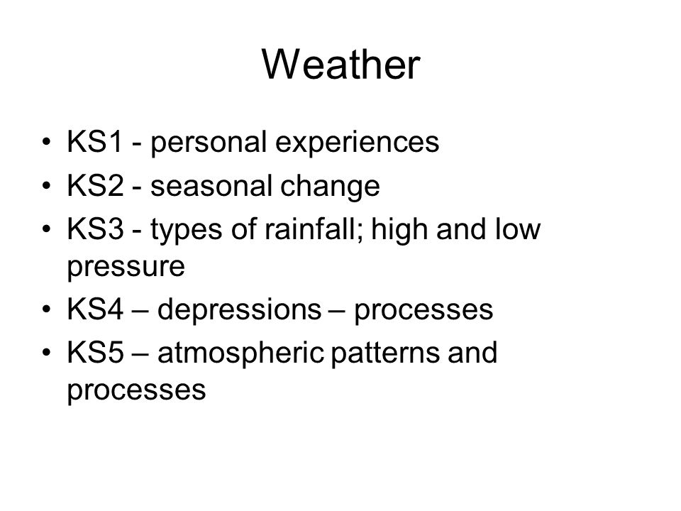 Weather KS1 - personal experiences KS2 - seasonal change