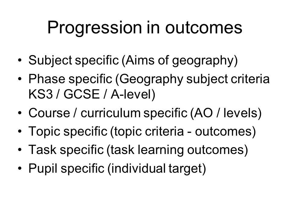 Progression in outcomes