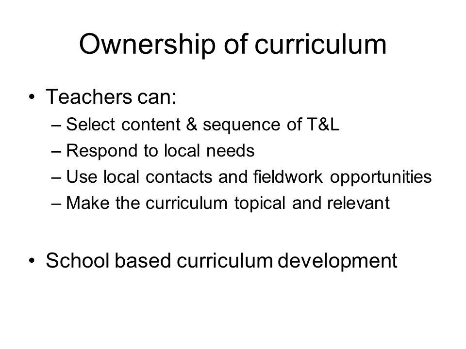 Ownership of curriculum