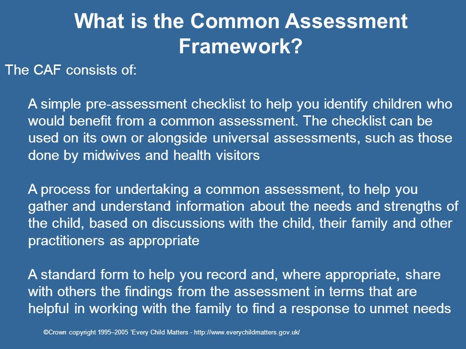 What is the Common Assessment Framework