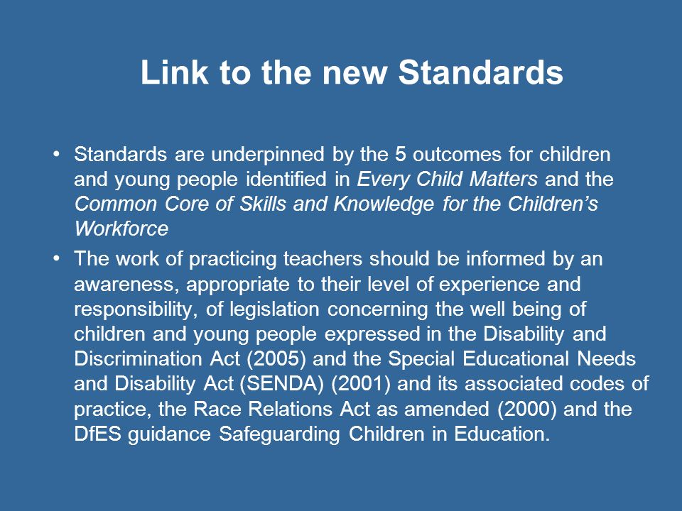 Link to the new Standards