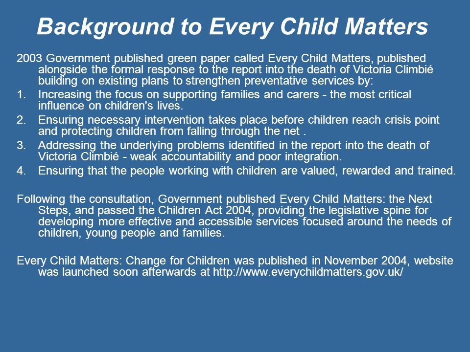 Background to Every Child Matters
