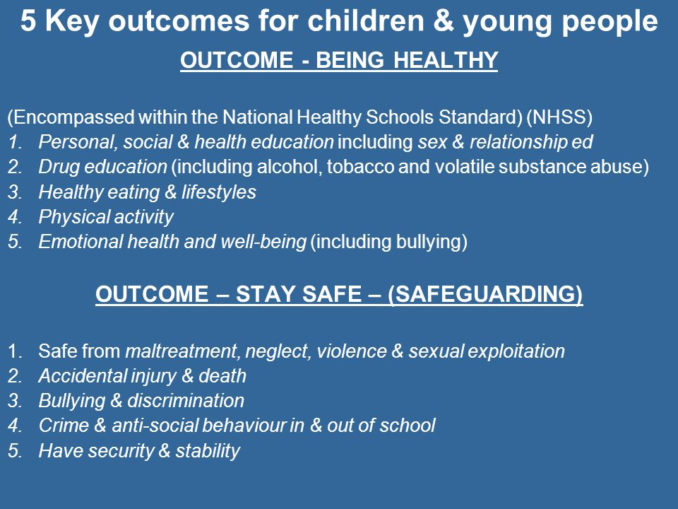 5 Key outcomes for children & young people