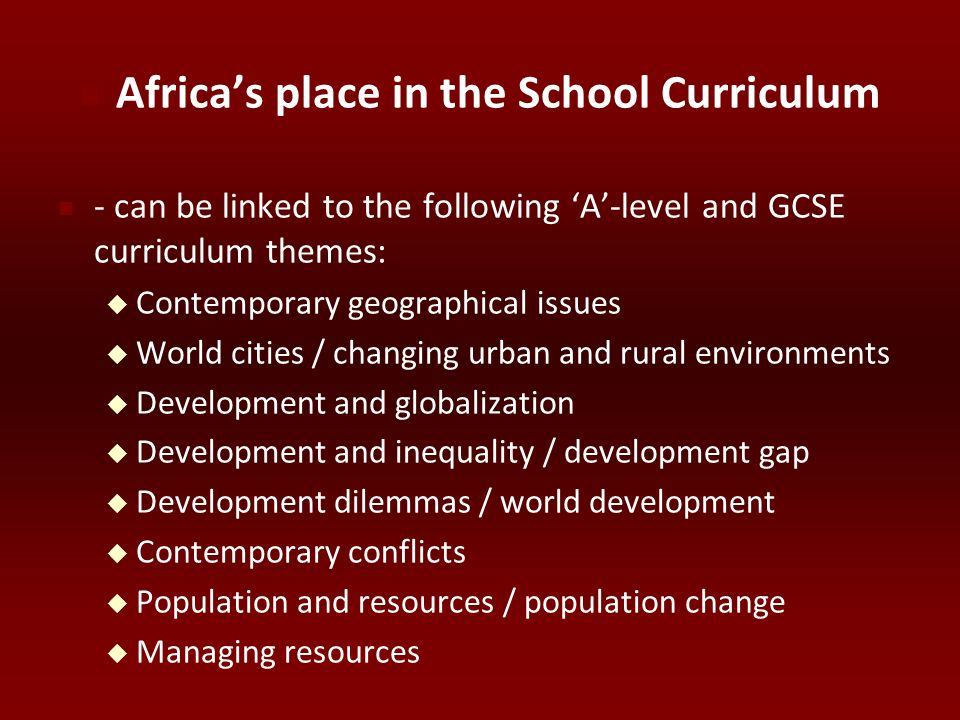 Africa's place in the School Curriculum