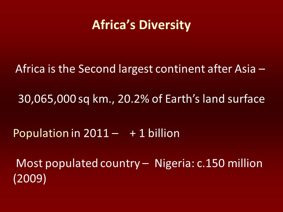 Africa's Diversity Africa is the Second largest continent after Asia – 30,065,000 sq km., 20.2% of Earth's land surface.