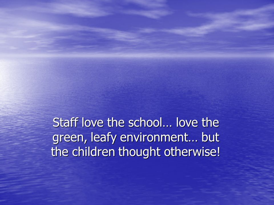Staff love the school… love the green, leafy environment… but the children thought otherwise!