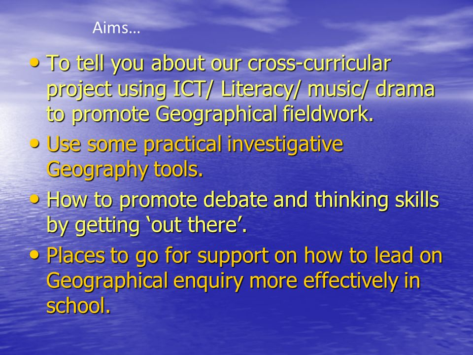 Use some practical investigative Geography tools.