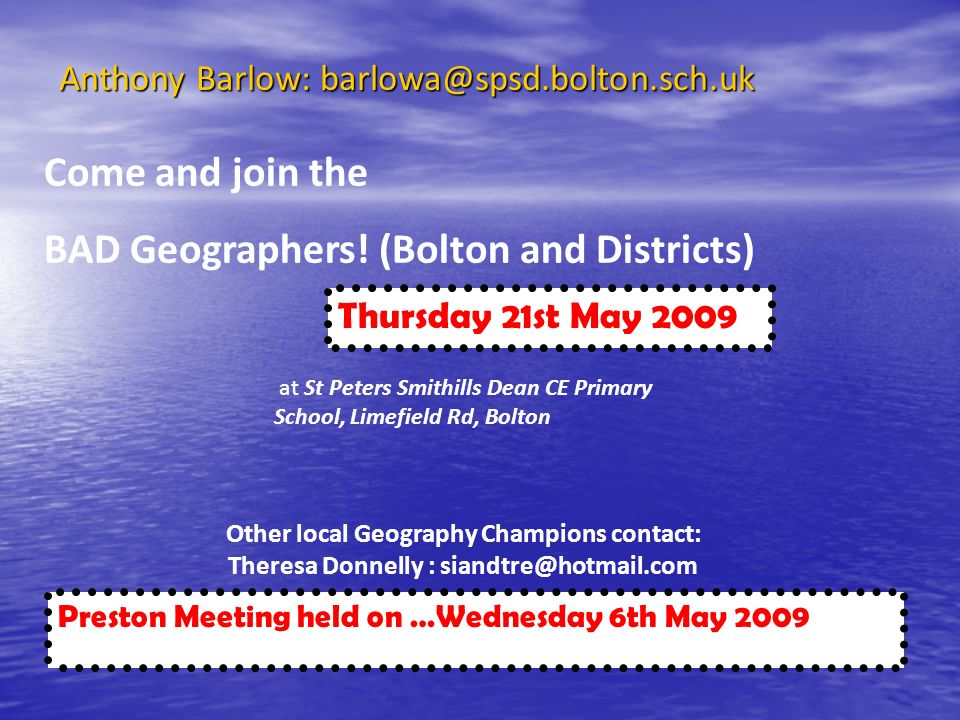BAD Geographers! (Bolton and Districts)