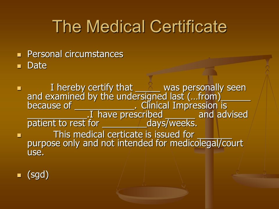 The Medical Certificate  Ppt Video Online Download