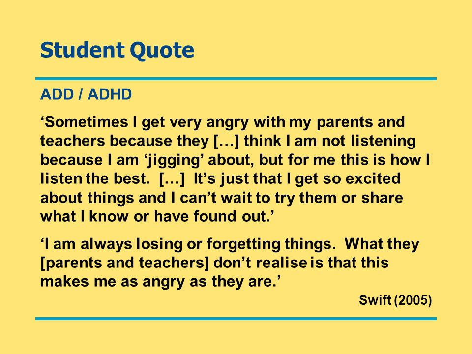 Student Quote ADD / ADHD