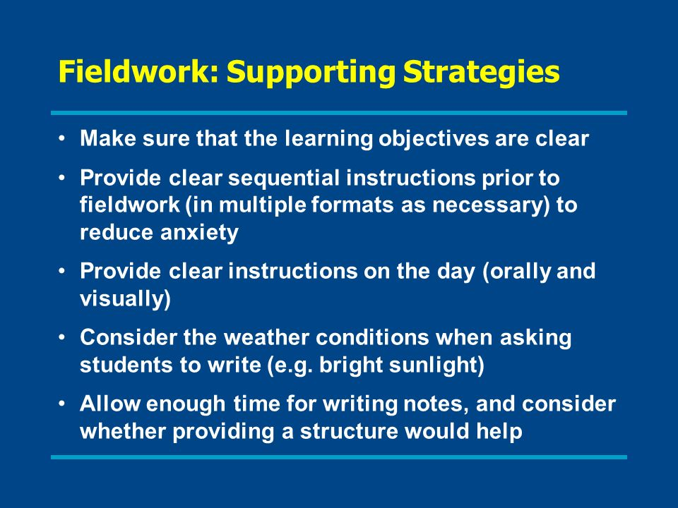 Fieldwork: Supporting Strategies