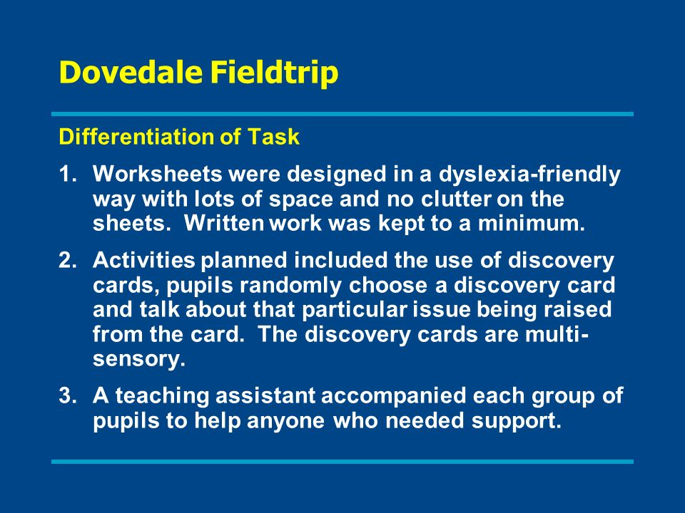 Dovedale Fieldtrip Differentiation of Task