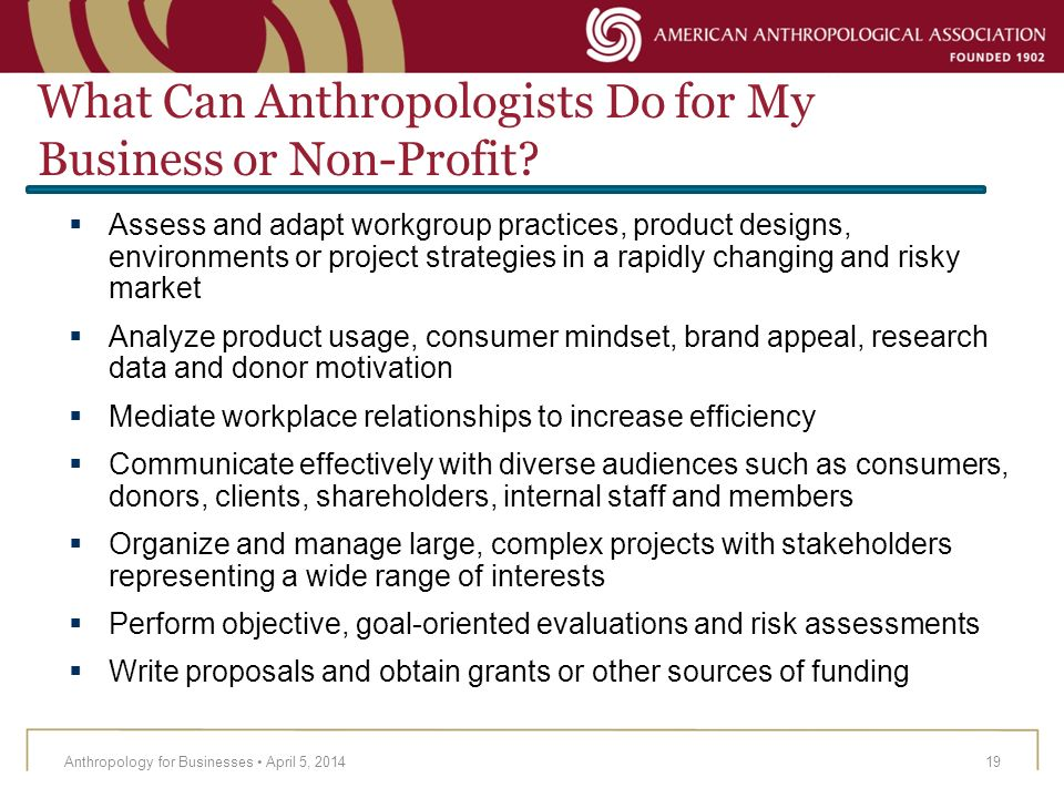 What Can Anthropologists Do for My Business or Non-Profit