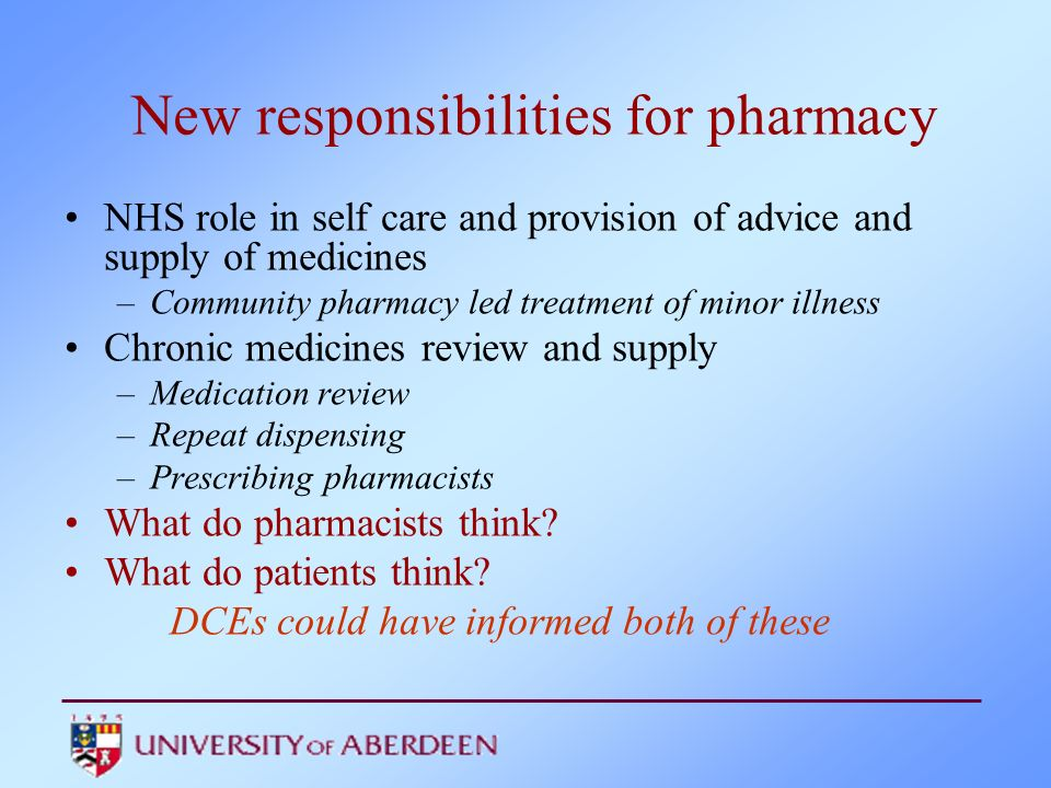 New responsibilities for pharmacy