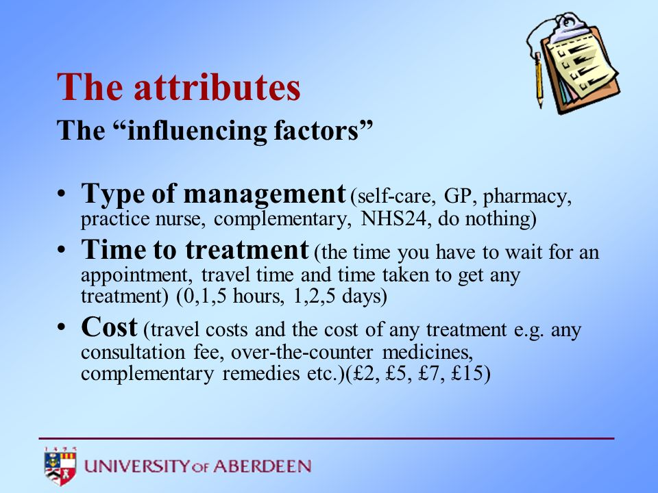 The attributes The influencing factors