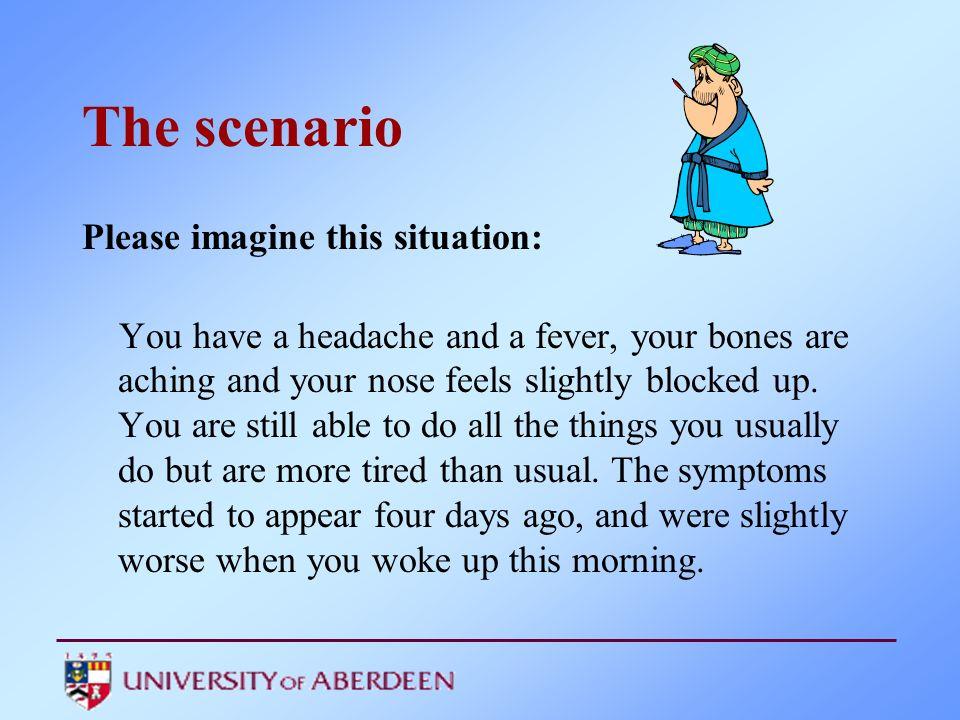 The scenario Please imagine this situation: