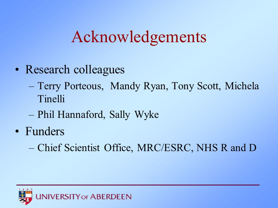 Acknowledgements Research colleagues Funders
