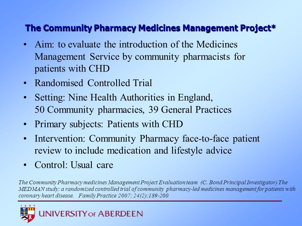 The Community Pharmacy Medicines Management Project*