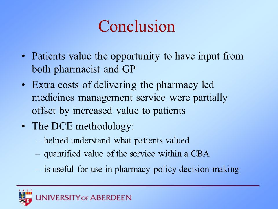 Conclusion Patients value the opportunity to have input from both pharmacist and GP.