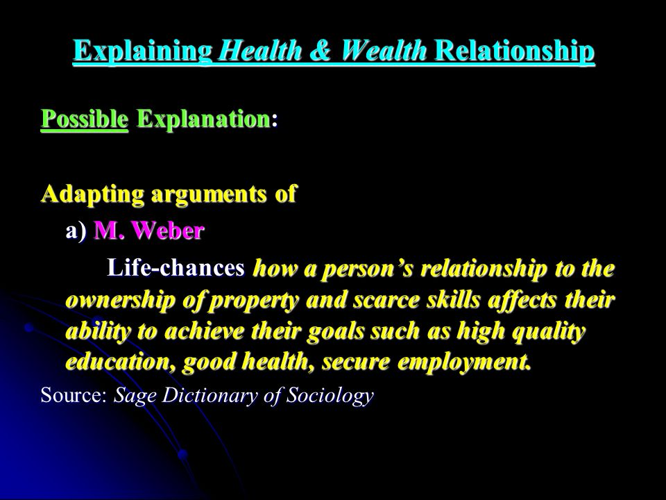Explaining Health & Wealth Relationship