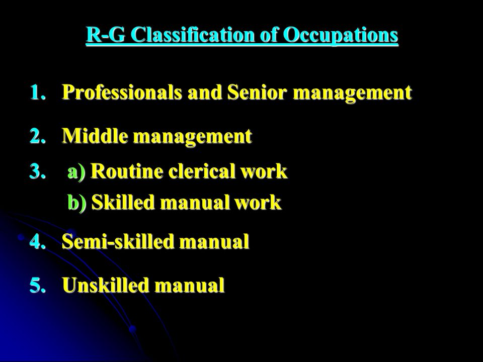 R-G Classification of Occupations