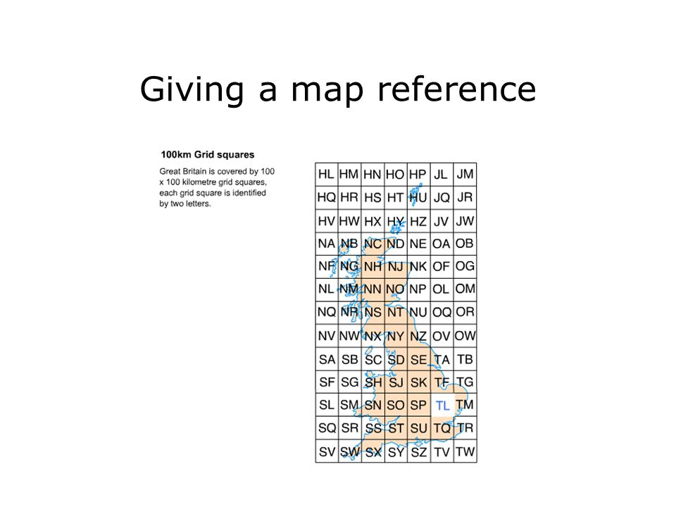 Giving a map reference