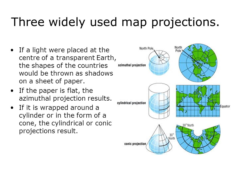 Three widely used map projections.