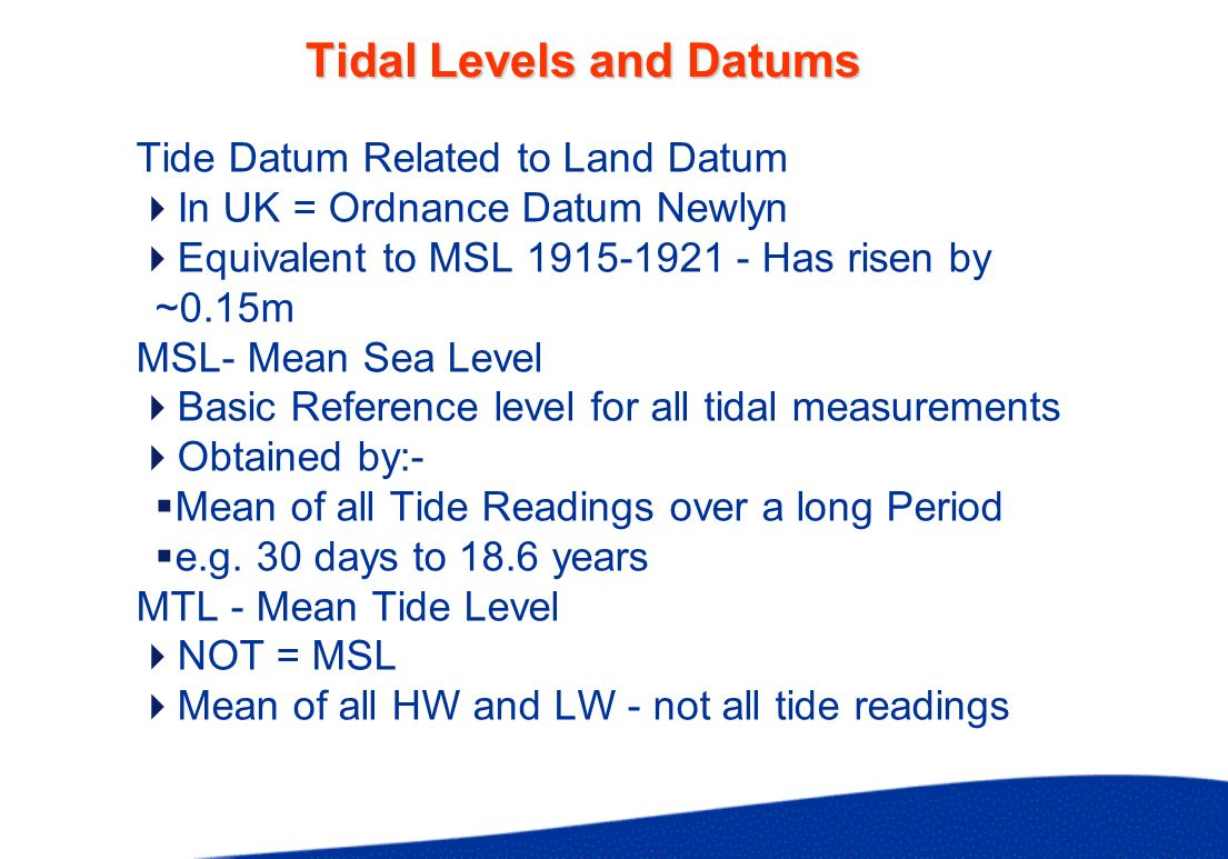 Tidal Levels MHWS/MLWS Mean High/Low Water Springs