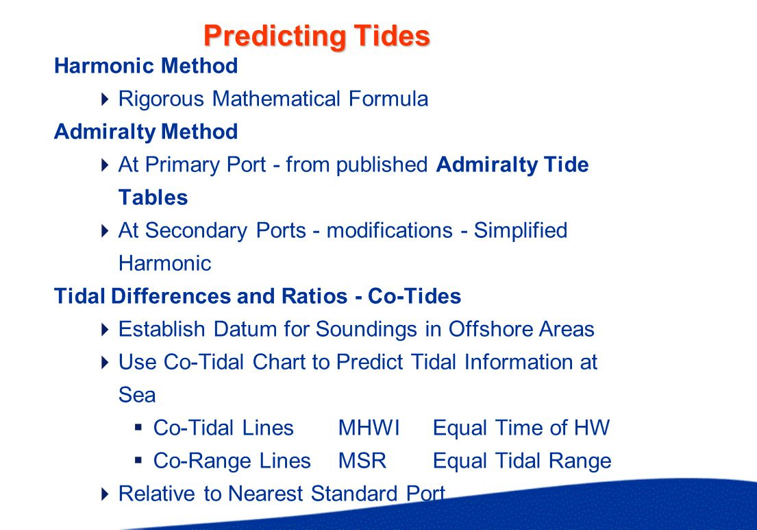 Example of Tide Prediction at Standard Port