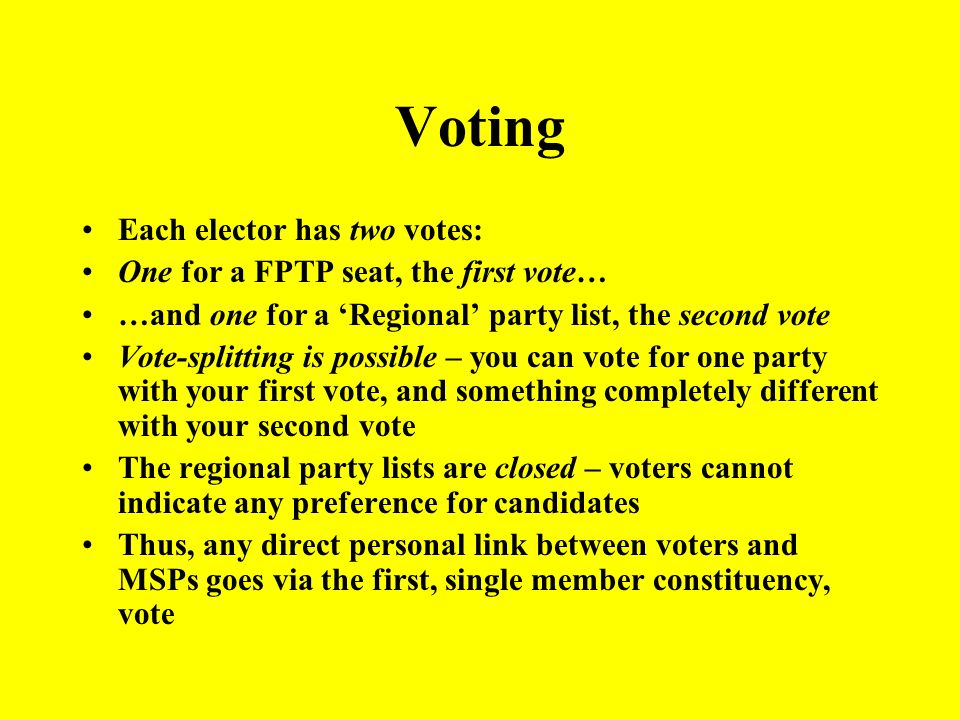 Voting Each elector has two votes: