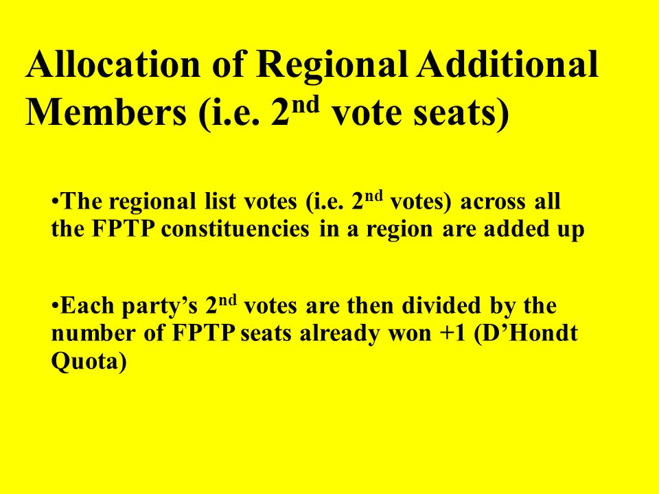 Allocation of Regional Additional Members (i.e. 2nd vote seats)