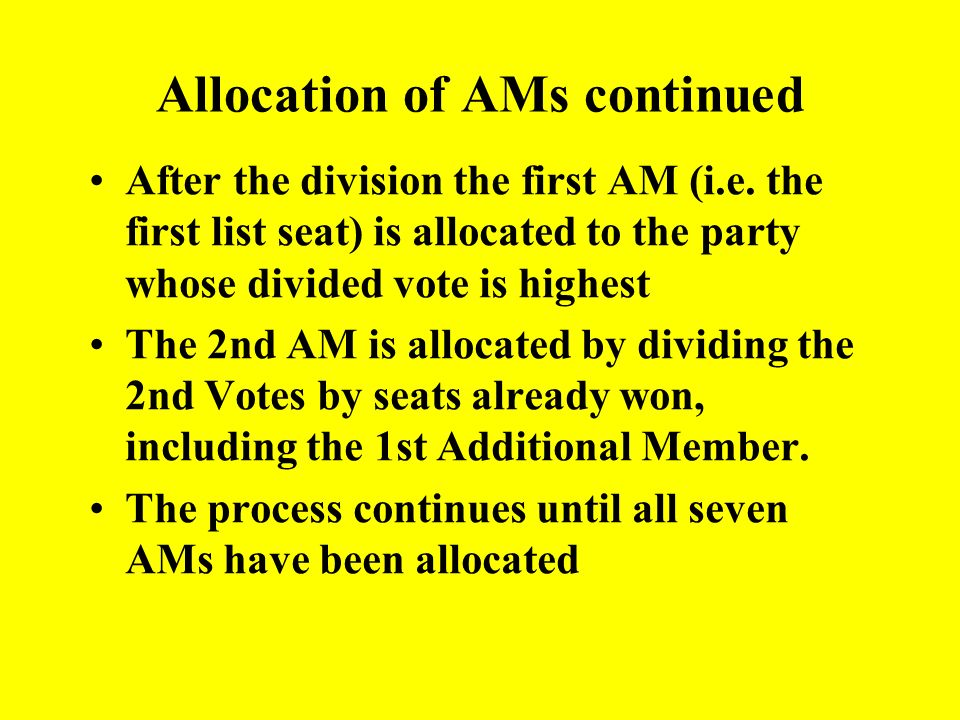 Allocation of AMs continued