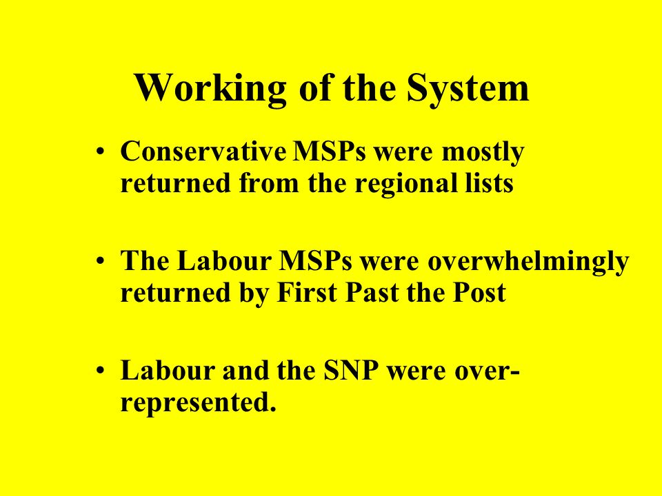 Working of the System Conservative MSPs were mostly returned from the regional lists.